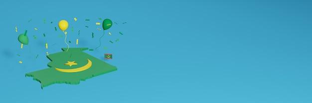 La representación del mapa 3d junto con la bandera de mauritania para las redes sociales y el fondo agregado del sitio web cubre globos verdes amarillos para celebrar el día de la independencia y el día nacional de las compras
