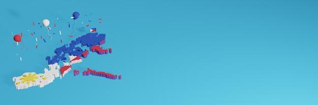 Representación de mapas 3d combinada con la bandera de perú para redes sociales y cubierta de fondo de sitio web agregada globos rojos, azules blancos para celebrar el día de la independencia y el día nacional de las compras