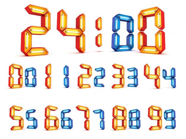 Representación numérica 3d de la luz de neón en el fondo blanco