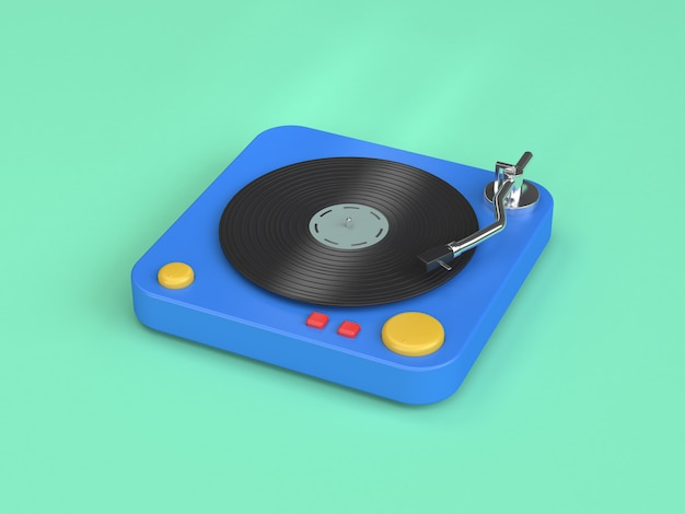 Reproductor de vinilo azul 3d estilo de dibujos animados representación 3d