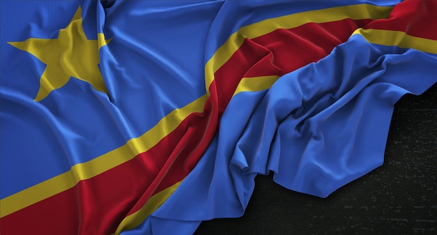 República democrática del congo bandera arrugada sobre fondo oscuro 3d render
