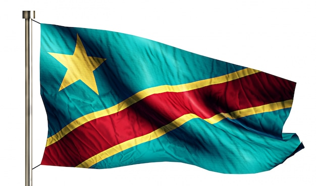 República democrática del congo bandera nacional aislado fondo blanco 3d