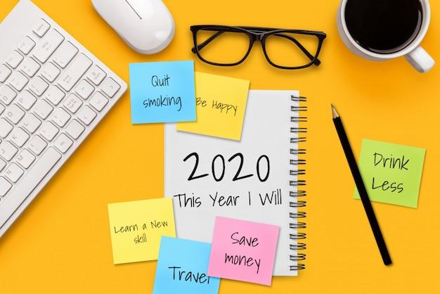 Resolución de año nuevo lista de objetivos 2020 establecimiento de objetivos