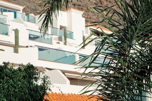 Resort blanco con hojas de cocotero