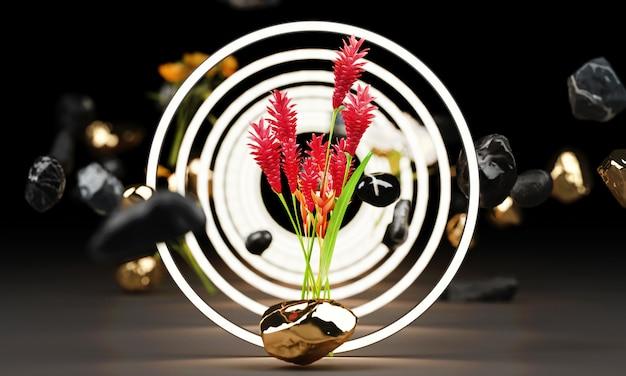 Resplandor brillante de formas geométricas con flor roja representación 3d