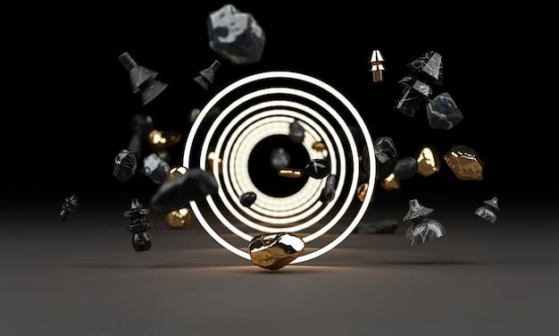 Resplandor brillante de formas geométricas con renderizado 3d de rock