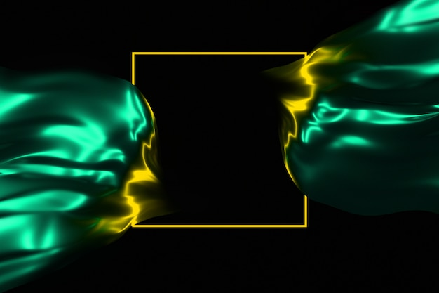 Resplandor de neón en el marco oscuro y la ilustración 3d de tela brillante que fluye