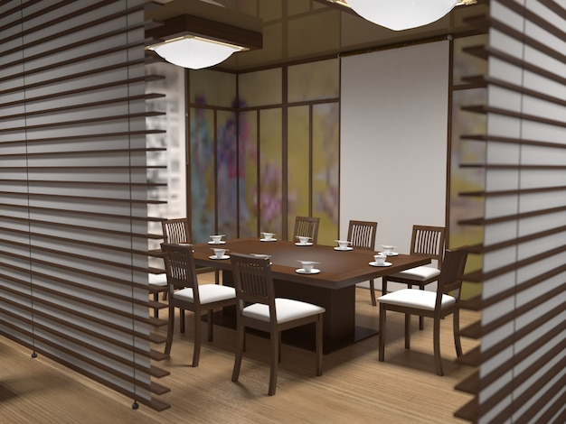 Restaurante chino, barra de sushi, visualización de interiores