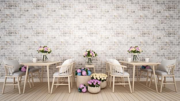 Restaurante o cafetería decoración flor - representación 3d