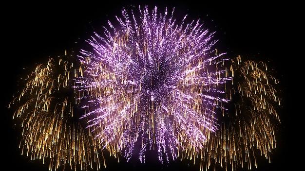 Resumen 3d animación realista de fuegos artificiales de colores.