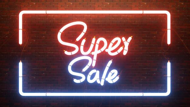 Resumen 3d render super venta con lámpara de luz de neón