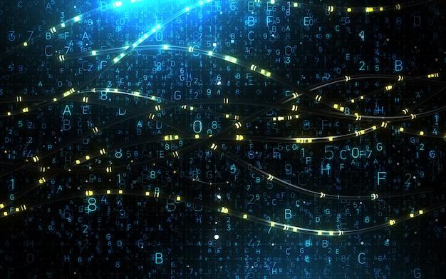 Resumen de antecedentes digitales. concepto futurista de tecnología de información de big data. cadena de bloque