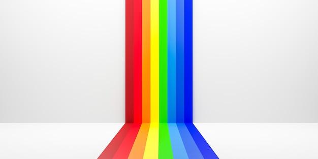 Resumen arco iris degradado multi colores de fondo blanco escena con sala de perspectiva