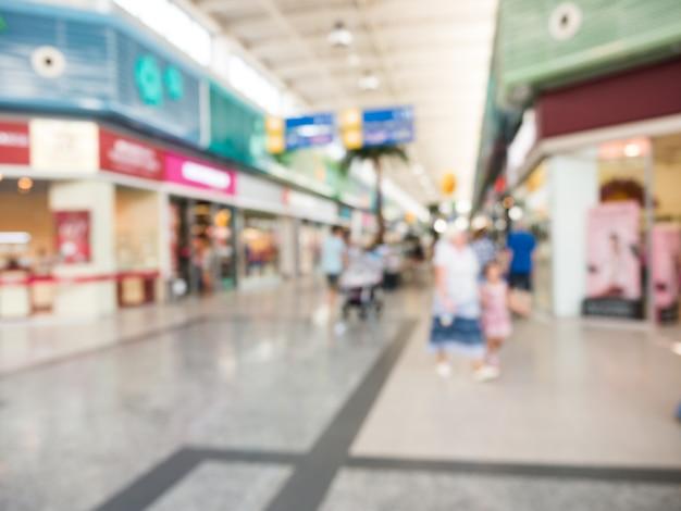 Resumen borrosa hall del centro comercial como fondo