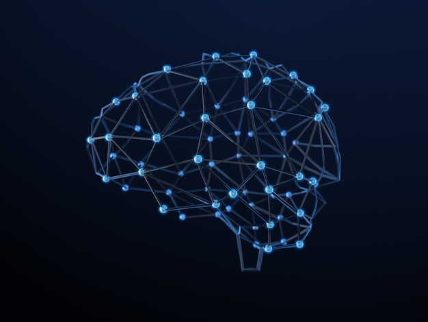 Resumen cerebro humano a partir de puntos y líneas. diseño del cerebro poligonal. representación 3d
