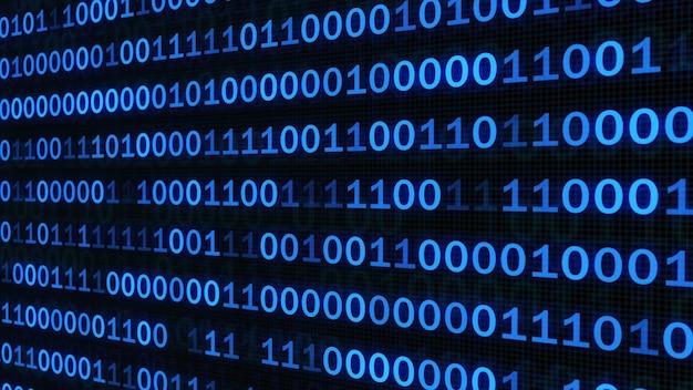 Resumen código binario en pantalla digital azul