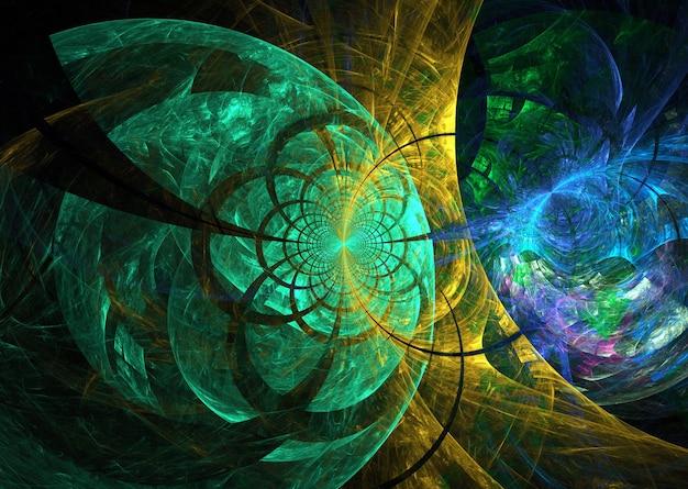 Resumen de color fractal curvas y líneas redondas sobre fondo negro