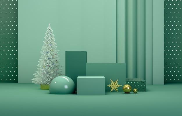 Resumen composición 3d. fondo de navidad de invierno con árbol de navidad y escenario para exhibición de productos.