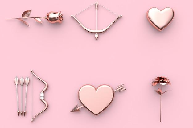 Resumen de concepto de san valentín representación 3d rosa arco y flecha corazón flor fondo rosado
