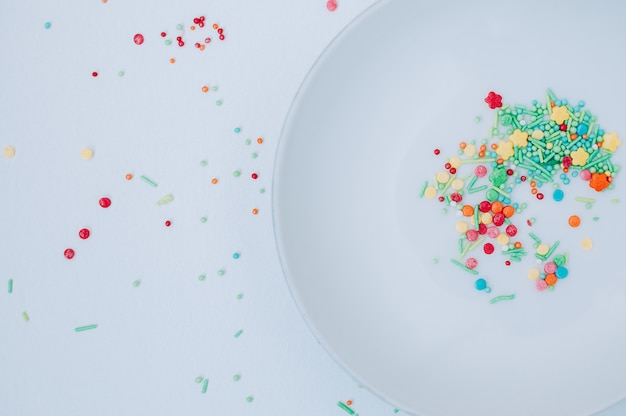 Resumen de decoración colorida comida dulce de cerca