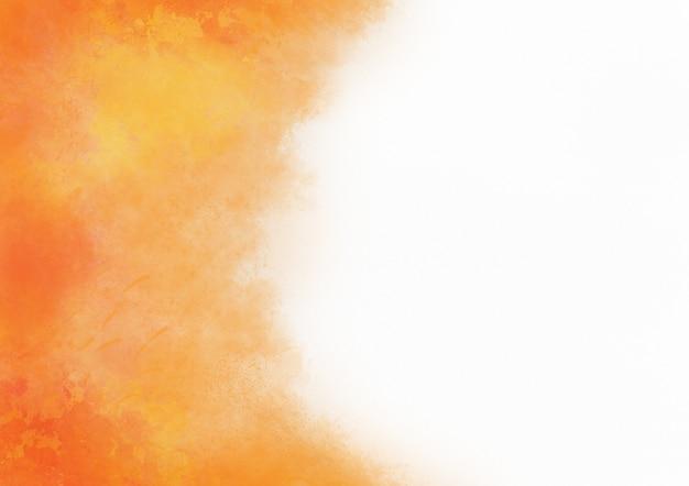 Resumen se desvanecen acuarela naranja salpicaduras de fondo de tinta sobre papel blanco con tema de otoño de espacio de copia