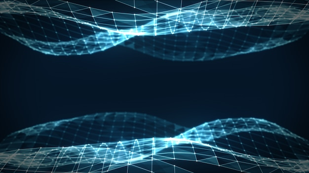 Resumen espacio poligonal bajo poli oscuro fondo oscuro con puntos y líneas de conexión. estructura de conexión. ciencias. fondo poligonal futurista. triangular. fondo de pantalla. ilustración 3d de negocios