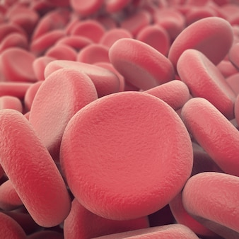 Resumen glóbulos rojos, ilustración de eritrocitos, científica, médica o microbiológica con profundidad de campo. 3d