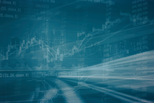 Resumen gráfico de acciones financieras con carretera y paisaje urbano