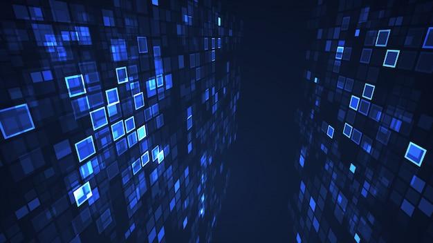 Resumen gráfico azul intermitente rectángulo cuadrícula fondo de perspectiva