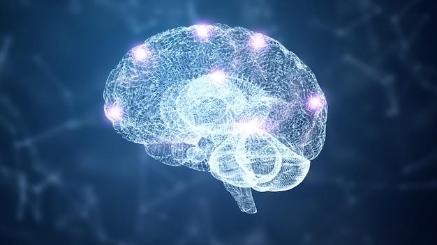 Resumen hud cerebro y nodo de simulación de holograma de estructura metálica del sistema nervioso con iluminación sobre fondo azul.