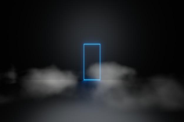 Resumen de luz de neón láser azul líneas brillantes marco rectangular humo niebla fondo representación 3d