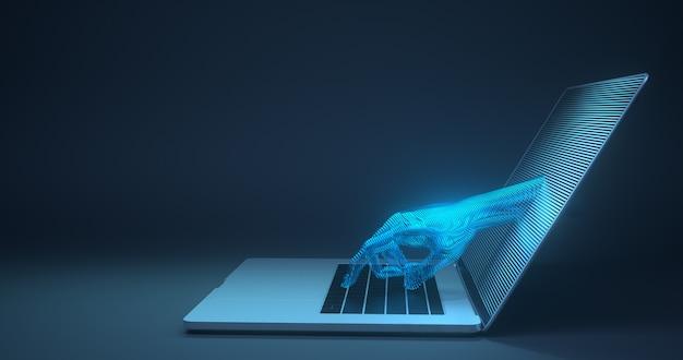 Resumen mano tocando el dispositivo digital. representación 3d