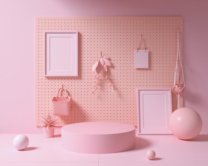 Resumen maqueta escena de color pastel, podio de forma geométrica rosa