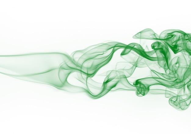 Resumen de movimiento de humo verde sobre fondo blanco