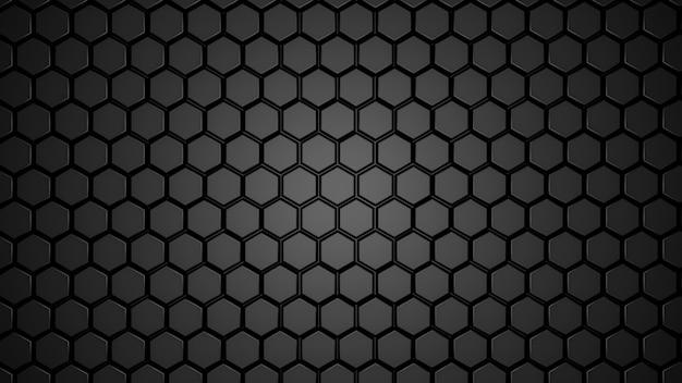Resumen negro geométrico hexagonal en capas.