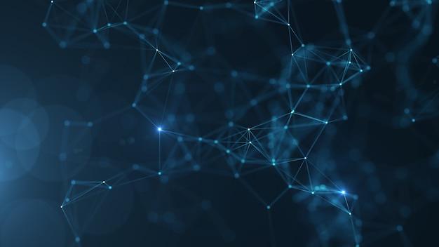 Resumen puntos y líneas conectadas sobre fondo azul.