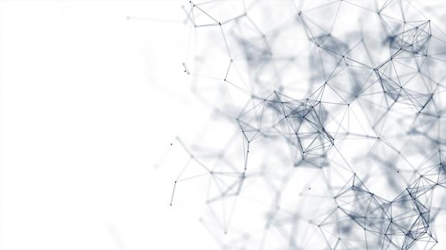 Resumen puntos y líneas conectadas sobre fondo blanco.