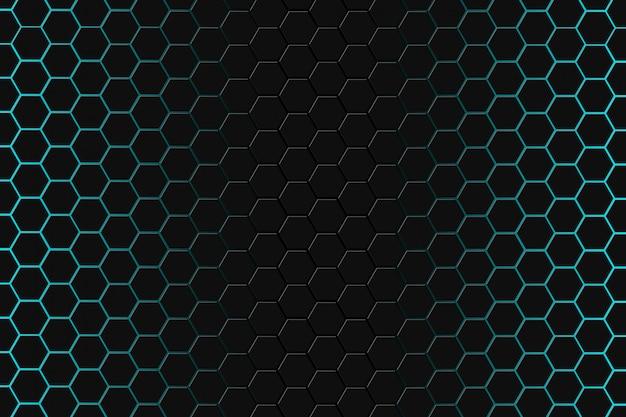 Resumen representación 3d de superficie futurista con hexágonos. fondo verde oscuro de ciencia ficción.