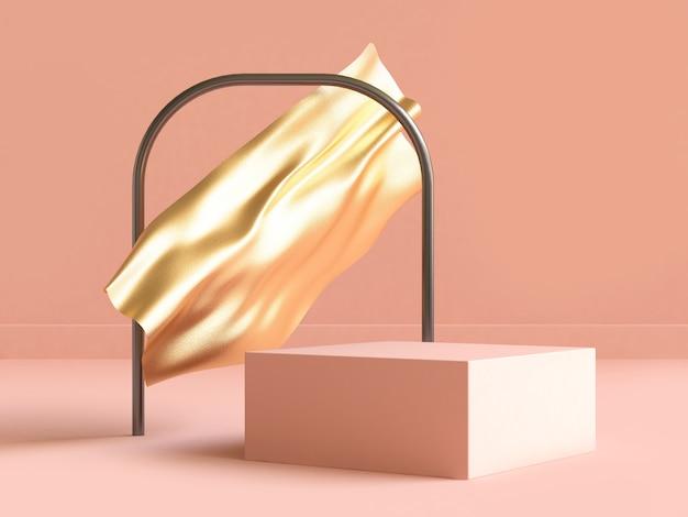 Resumen representación 3d tela dorada forma cuadrada crema-naranja escena geométrica