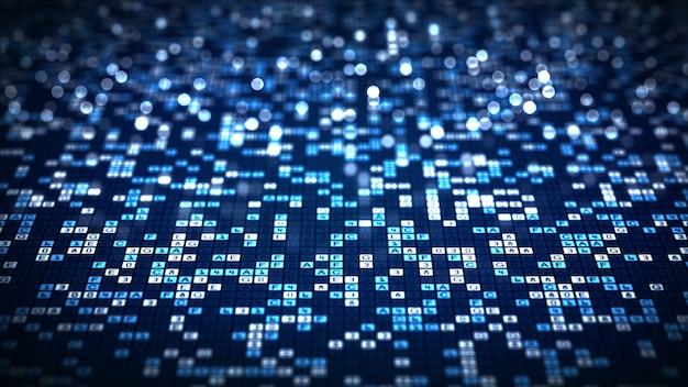 Resumen tecnología big data código digital fondo futurista.