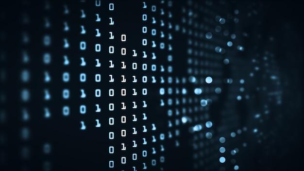 Resumen de tecnología de datos grandes código binario futurista de fondo.