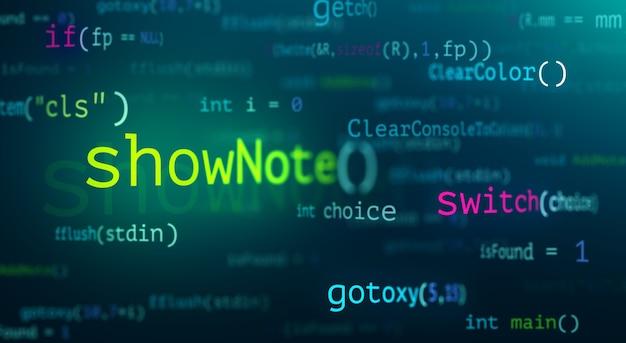 Resumen tecnología moderna de desarrollador de pantalla de código de programación. lenguaje de programación c de escritura de computadora y experiencia en tecnología de software.