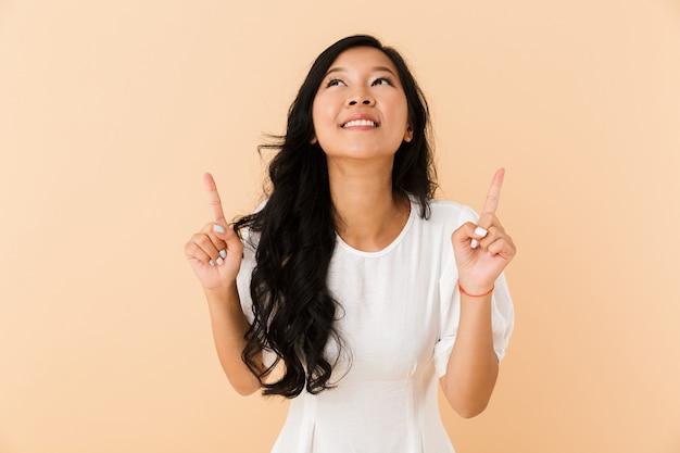 Retrato, de, un, alegre, joven, mujer asiática
