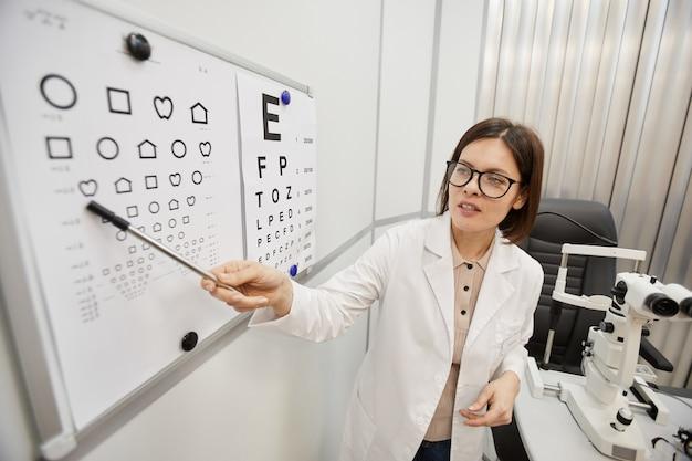 Retrato de alto ángulo de mujer oftalmóloga apuntando a la tabla de visión
