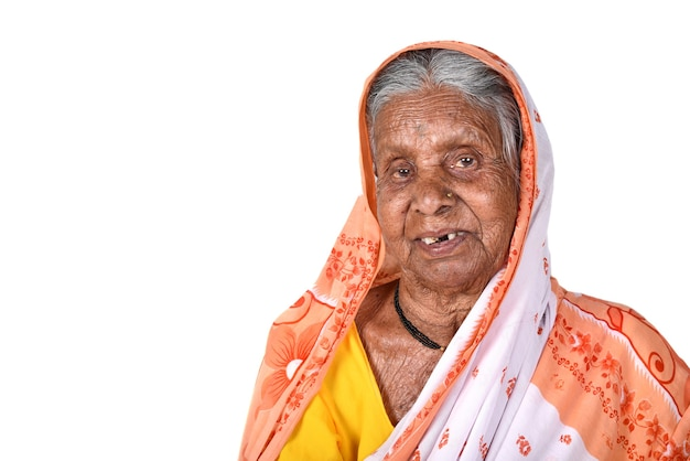 Retrato, de, un, anciana, senior, mujer india