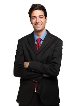 Retrato de un apuesto joven empresario