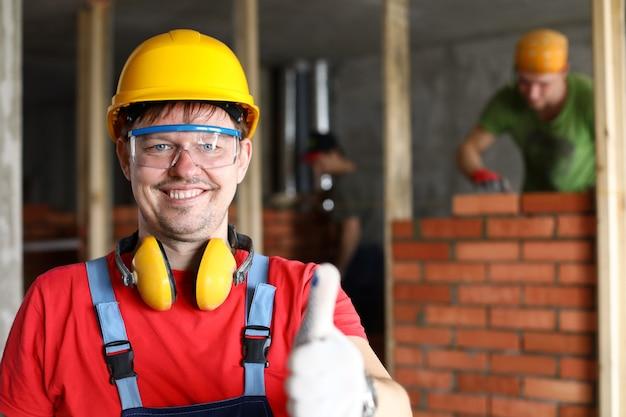 Retrato de capataz o supervisor de grupo de constructores