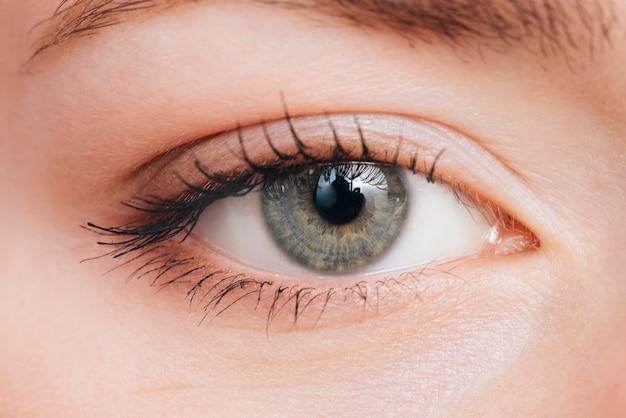 Retrato de cerca de ojos de mujer