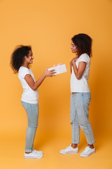 Retrato de cuerpo entero de dos alegres hermanas afroamericanas