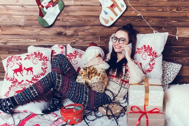 Retrato de mujer de navidad